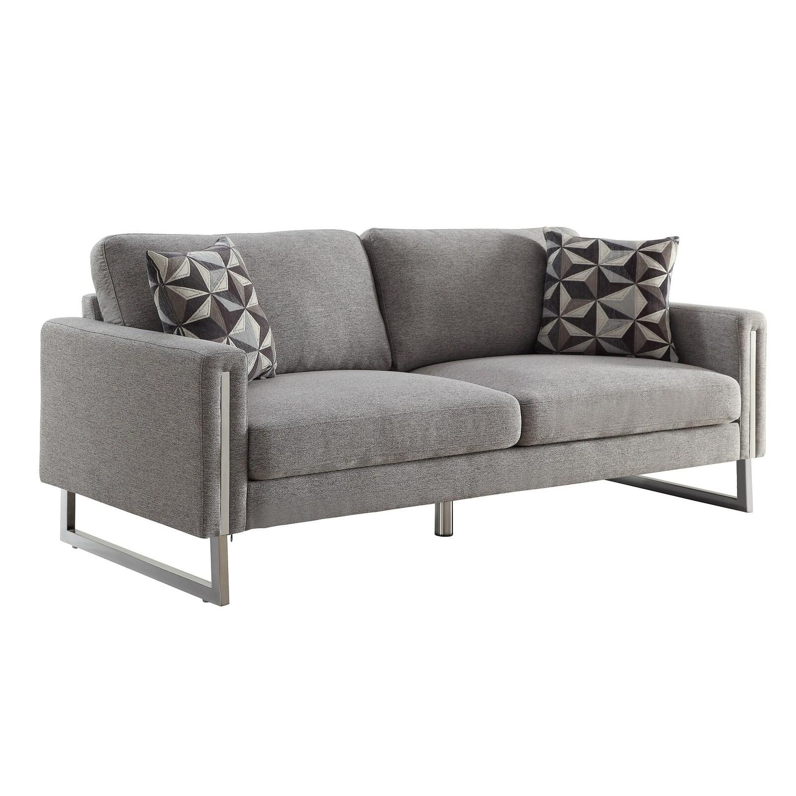 Stylish Grey Modern Sofa with Clovis Contemporary Fabric ...