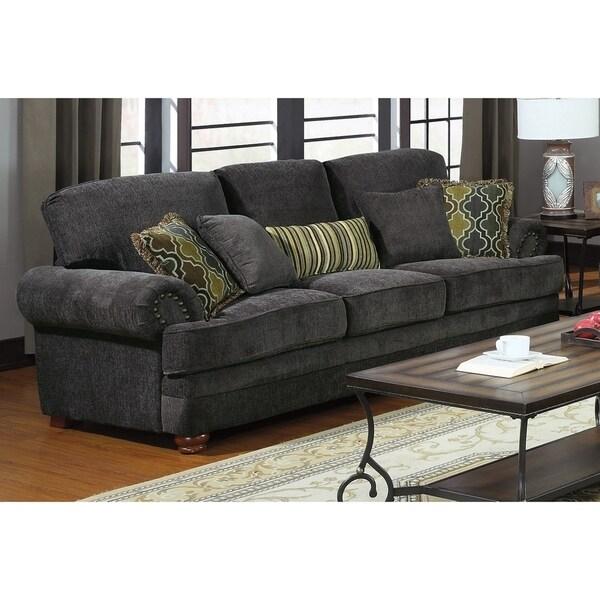 Pillows Traditional Sofa: Shop Aurora Smoky Grey Chenille Traditional Sofa And