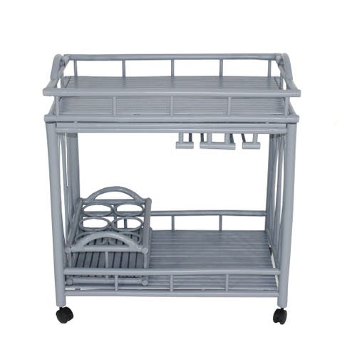 Bamboo Rolling Wine Buffet Kitchen Living Room Bar Serving Cart -Grey