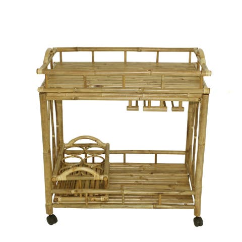 Bamboo Rolling Wine Buffet Kitchen Living Room Bar Serving Cart