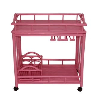 Bamboo Rolling Wine Buffet Kitchen Living Room Bar Serving Cart