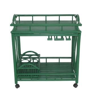 Bamboo Rolling Wine Buffet Kitchen Living Room Bar Serving Cart Green
