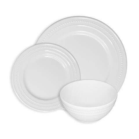 222 Fifth Beaded White 12-Piece Melamine Dinnerware Set, Service for 4