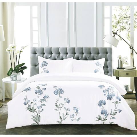 Broderie ensemble housse de couette Collection Hydrangea Embroidery Duvet Set Blue