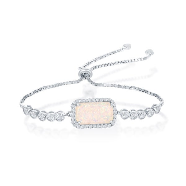 0a2a8b40deea3 Shop La Preciosa Sterling Silver/Rose Gold Rectangle Created Opal ...
