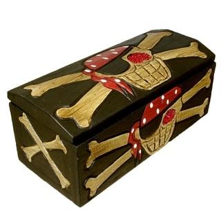 "Handmade Skull and Crossbones Treasure Box - 8"" x 5"" x 4"" (Indonesia)"