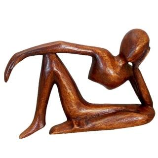 Handmade Suar Wood Tranquility Yoga Figurine (Indonesia)