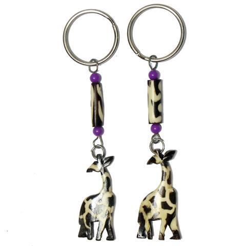 Hand-carved Cattle Bone Keychains- Giraffes (Set of 2)