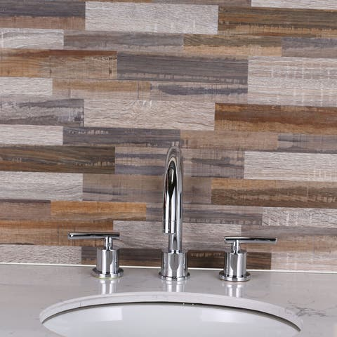 SimpliTILE 6 x 24 Peel & Stick Mosaic Tile (Pack of 10), Faux Wood