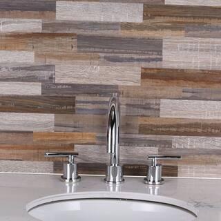 SimpliTILE 6 x 24 Peel & Stick Mosaic Tile (Pack of 10), Faux Wood