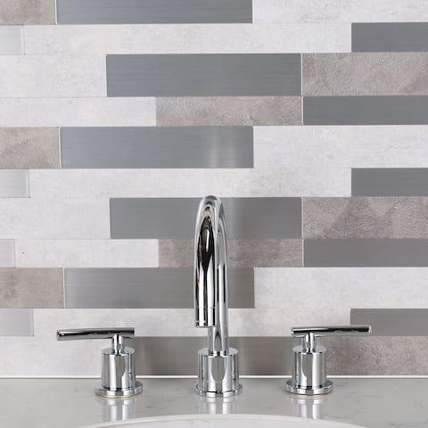 SimpliTILE 6 x 24 Peel & Stick Mosaic Tile (Pack of 10), Stone & Metal
