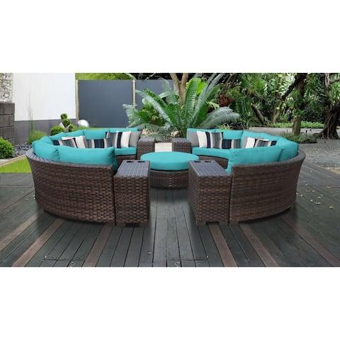 kathy ireland River Brook 11 Piece Outdoor Wicker Patio Furniture Set 11b