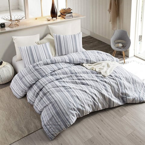 Navy Frayed Jacquard Duvet Cover - Oversized Bedding