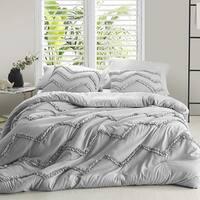 Textured Ruffles Bedding Chevron Glacier Gray Duvet Cover