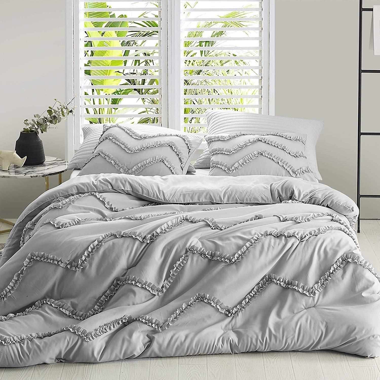 Textured Ruffles Bedding Chevron Glacier Gray Duvet Cover On Sale Overstock 27663021