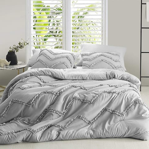 Textured Ruffles Bedding Chevron Glacier Gray Duvet Cover