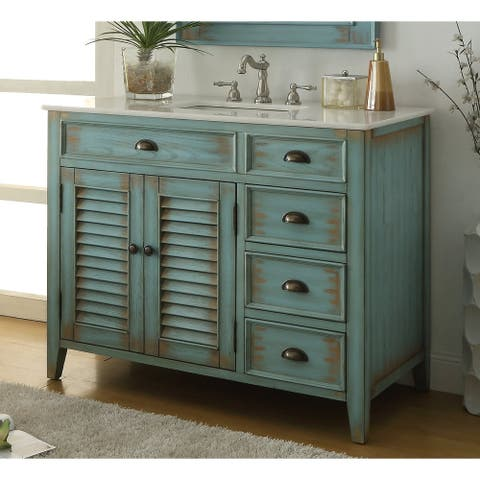 "42"" Benton Collection Abbeville Distressed Blue Rustic Bathroom Vanity"