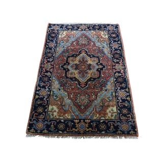"""Shahbanu Rugs Antiqued Heriz Re-creation Pure Wool Hand-Knotted Oriental Rug (2'1"""" x 3'1"""") - 2'1"""" x 3'1"""""""