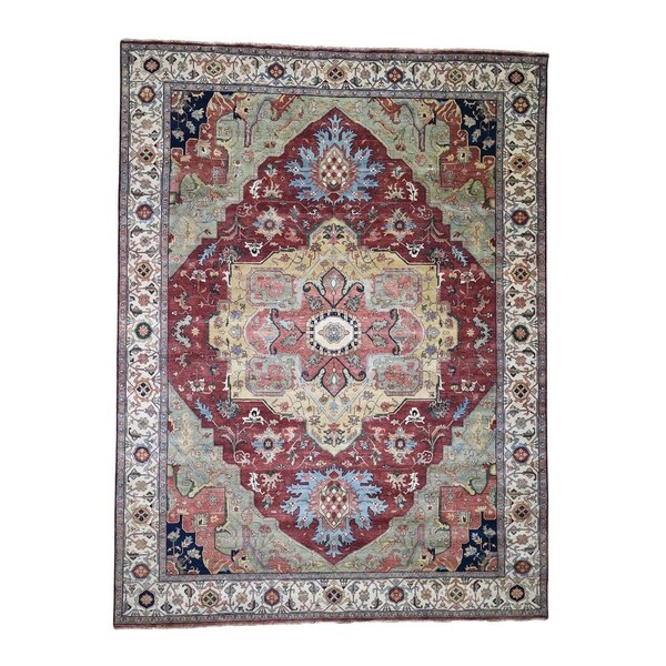 "Shahbanu Rugs Antiqued Heriz Re-Creation Pure Wool Hand-Knotted Oriental Rug (9'0"" x 12'0"") - 9'0"" x 12'0"""