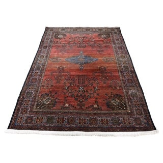 """Shahbanu Rugs Antique Persian Sarouk Fereghan Worn But Soft Hand-Knotted Rug (4'2"""" x 6'4"""") - 4'2"""" x 6'4"""""""