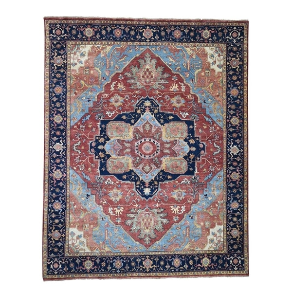 """Shahbanu Rugs Antiqued Heriz Re-creation Pure Wool Hand-Knotted Oriental Rug (8'0"""" x 10'0"""") - 8'0"""" x 10'0"""""""