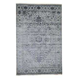 "Shahbanu Rugs Silver Heriz Design Wool And Silk Hi-lo Pile Hand-Knotted Oriental Rug (6'0"" x 9'2"") - 6'0"" x 9'2"""