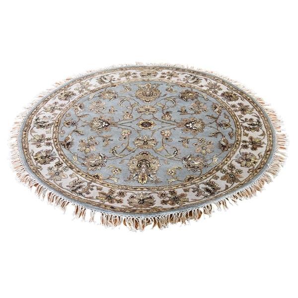 "Shahbanu Rugs Hand-Knotted Half Wool and Half Silk Rajasthan Round Oriental Rug (6'0"" x 6'0"") - 6'0"" x 6'0"""