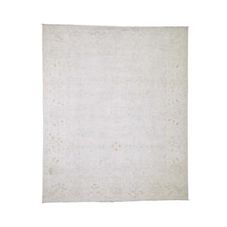 "Shahbanu Rugs White Wash Peshawar Pure Wool Hand-Knotted Oriental Rug (8'0"" x 9'6"") - 8'0"" x 9'6"""