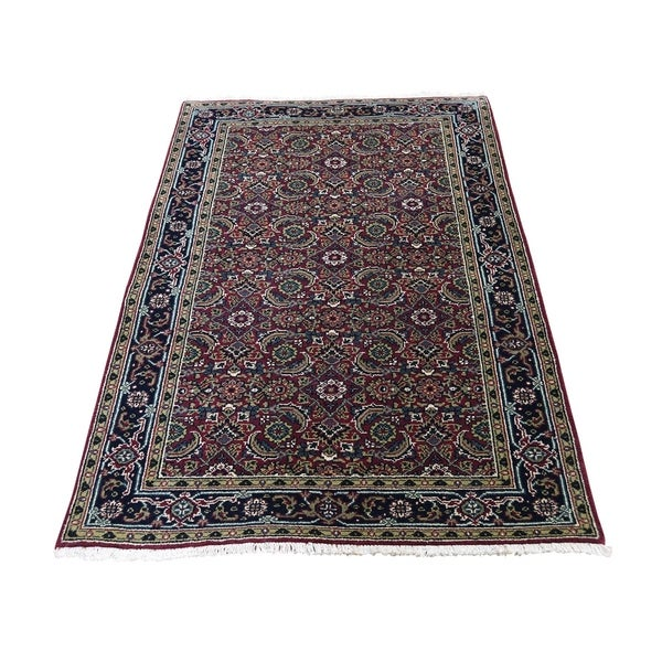 "Shahbanu Rugs Herati Fish Design 175 KPSI Hand-Knotted Wool And Silk Oriental Rug (3'0"" x 5'0"") - 3'0"" x 5'0"""