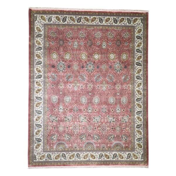 "Shahbanu Rugs Tabriz New Zealand Wool 300 KPSI Hand Knotted Oriental Rug (9'0"" x 11'8"") - 9'0"" x 11'8"""