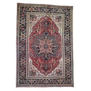 "Shahbanu Rugs Semi Antique Persian Heriz Soem Wear Clean, Hand-Knotted Oriental Rug (6'4"" x 9'2"") - 6'4"" x 9'2"""