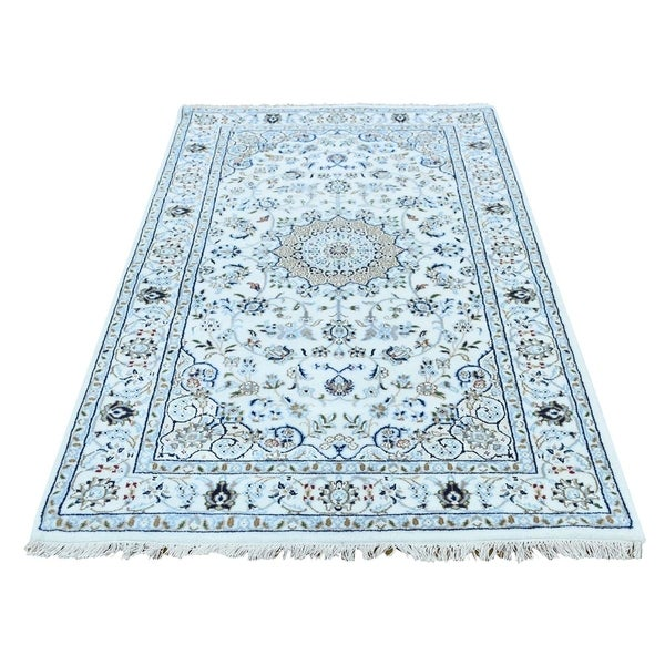 "Shahbanu Rugs Wool And Silk 250 KPSI Ivory Nain Hand-Knotted Oriental Rug (3'2"" x 5'2"") - 3'2"" x 5'2"""