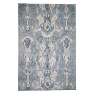 "Shahbanu Rugs Ikat Uzbek Design Hand Knotted Silver Pure Wool Oriental Rug (6'2"" x 9'2"") - 6'2"" x 9'2"""