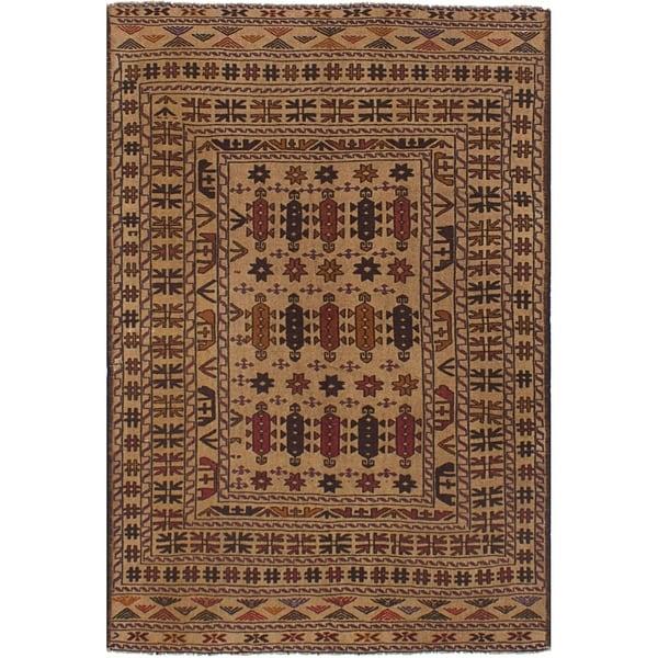 eCarpetGallery Flat-weave Shiravan Sumak Tan Wool Sumak - 4'1 x 6'0