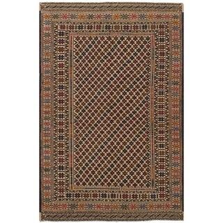 eCarpetGallery  Flat-weave Shiravan Sumak Ivory Wool Sumak - 4'0 x 6'6