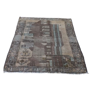 """Shahbanu Rugs Vintage Afghan Baluch Natural Colors Hand-Knotted Rug (2'8"""" x 4'3"""") - 2'8"""" x 4'3"""""""
