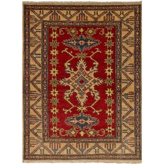 eCarpetGallery  Hand-knotted Finest Gazni Red Wool Rug - 3'7 x 4'11