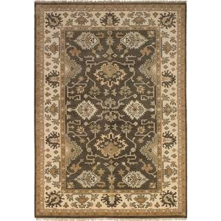 eCarpetGallery Hand-knotted Royal Ushak Dark Grey Wool Rug - 6'0 x 9'0