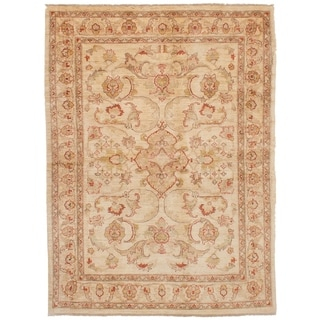 eCarpetGallery  Hand-knotted Chobi Finest Ivory Wool Rug - 5'10 x 7'11