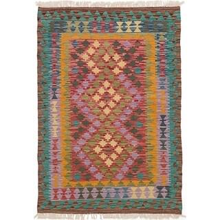 eCarpetGallery  Flat-weave Hereke FW Red Wool Kilim - 3'4 x 4'9