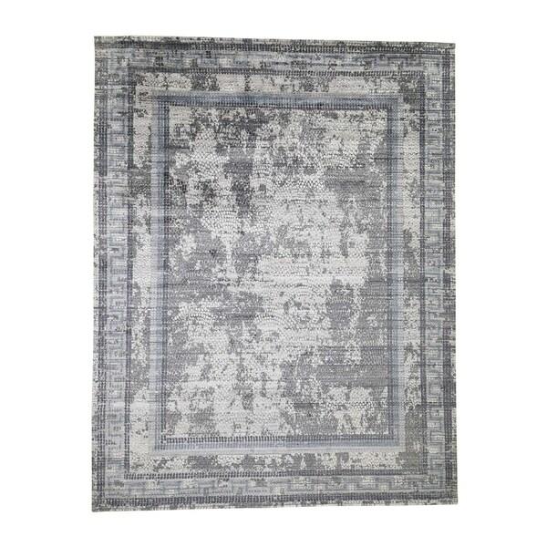 "Shahbanu Rugs Gray Silken Roman Mosaic Design Hand-Knotted Oriental Rug (9'2"" x 11'10"") - 9'2"" x 11'10"""