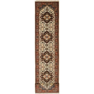 eCarpetGallery  Hand-knotted Serapi Heritage Cream Wool Rug - 2'6 x 11'7