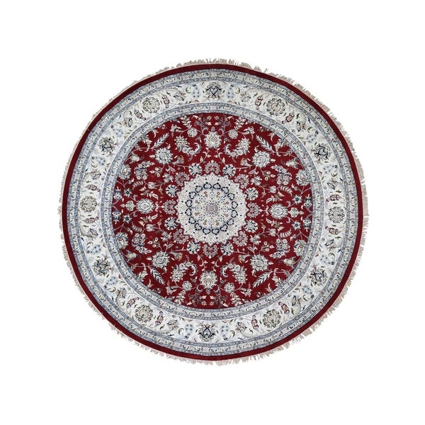 """Shahbanu Rugs Hand-Knotted Wool And Silk 250 Kpsi Red Nain Round Oriental Rug (9'8"""" x 9'8"""") - 9'8"""" x 9'8"""""""