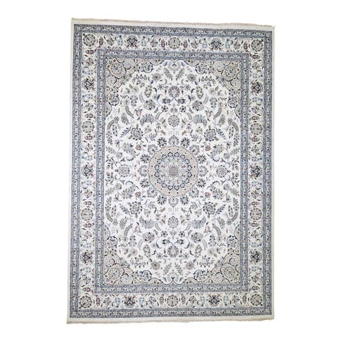 "Shahbanu Rugs Wool And Silk 250 KPSI Ivory Nain Hand-Knotted Oriental Rug (9'9"" x 14'0"") - 9'9"" x 14'0"""