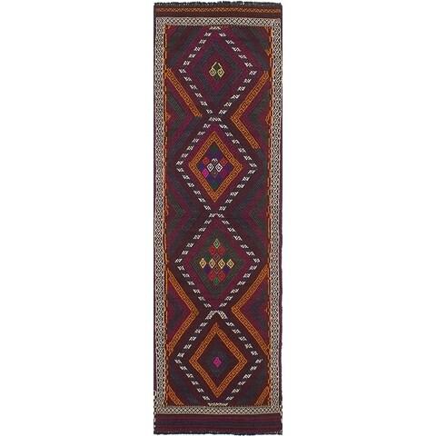 eCarpetGallery Flat-weave Qashqai Dark Red Wool Kilim - 2'4 x 8'4