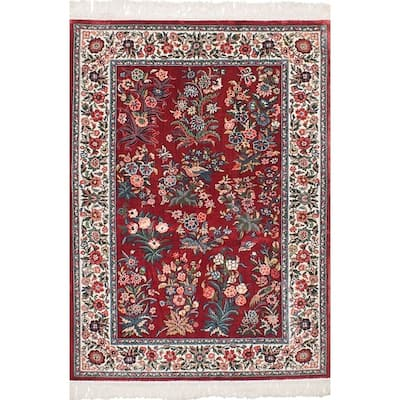 Hand-knotted 300L Silk Red Silk Rug