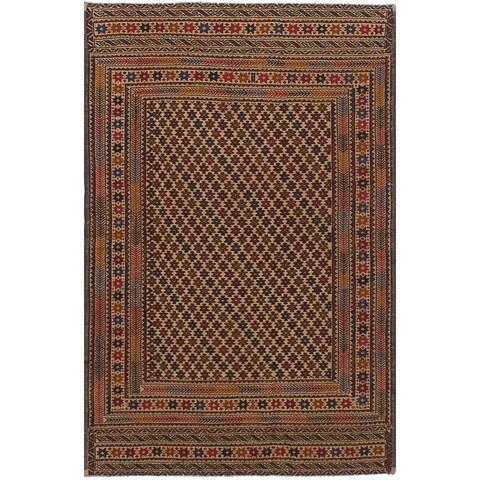 eCarpetGallery Flat-weave Shiravan Sumak Red, Tan Wool Sumak - 4'2 x 6'5