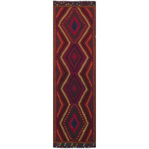 eCarpetGallery Flat-weave Qashqai Dark Red Wool Kilim - 2'5 x 8'10