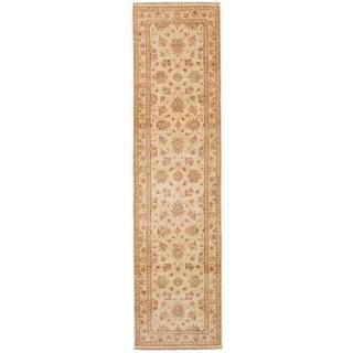 eCarpetGallery  Hand-knotted Chobi Finest Cream Wool Rug - 2'6 x 10'0