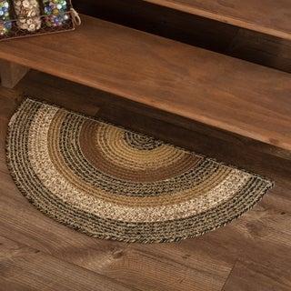"Tan Primitive Flooring VHC Kettle Grove Rug Jute Half Circle - 1'4.5"" x 2'9"""